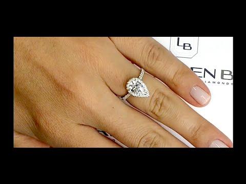 1 Carat Pear Shape Diamond Halo Engagement Ring Youtube