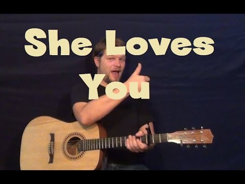 She Loves You (The Beatles) Easy Guitar Lesson How to Play Tutorial