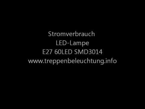 Test LED Lampe   Stromverbrauch   E27 60LED SMD3014