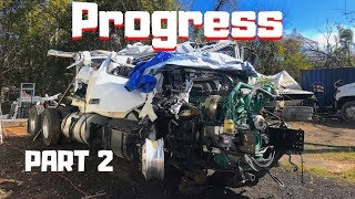 Download CRAZY Totaled WRECKED Rollover REBUILD Semi Purchased At Copart | 2019 Volvo Semi Truck | Part 2 | Mp3 and Videos