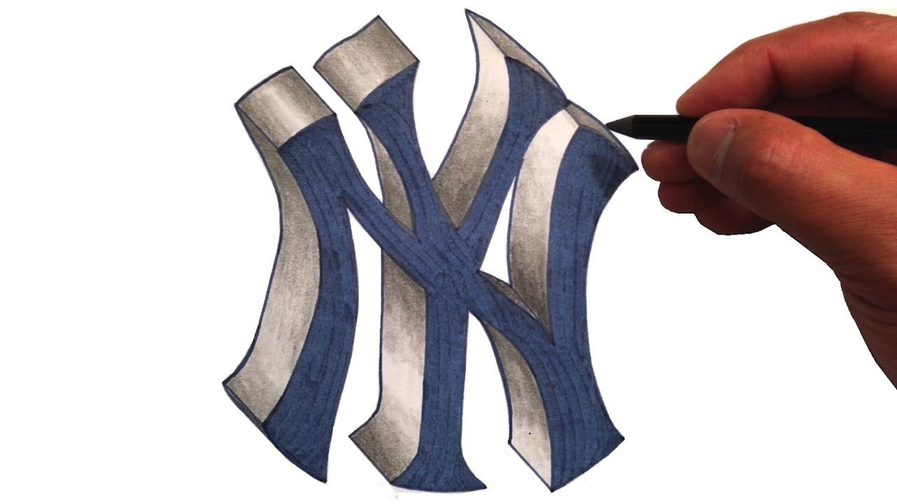 How To Draw The Yankees Logo In 3d Youtube