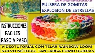 Repeat youtube video ¡NUEVO MÉTODO! COMO HACER PULSERA EXPLOSIÓN DE ESTRELLAS EN TELAR RAINBOW LOOM. STARBURST BRACELET