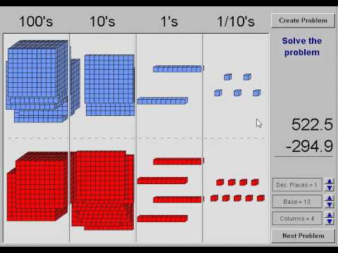 subtracting decimals with base ten blocks youtube. Black Bedroom Furniture Sets. Home Design Ideas