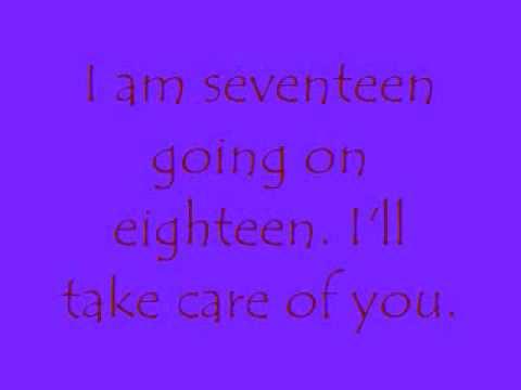 16 going on 17, Lyrics onscreen