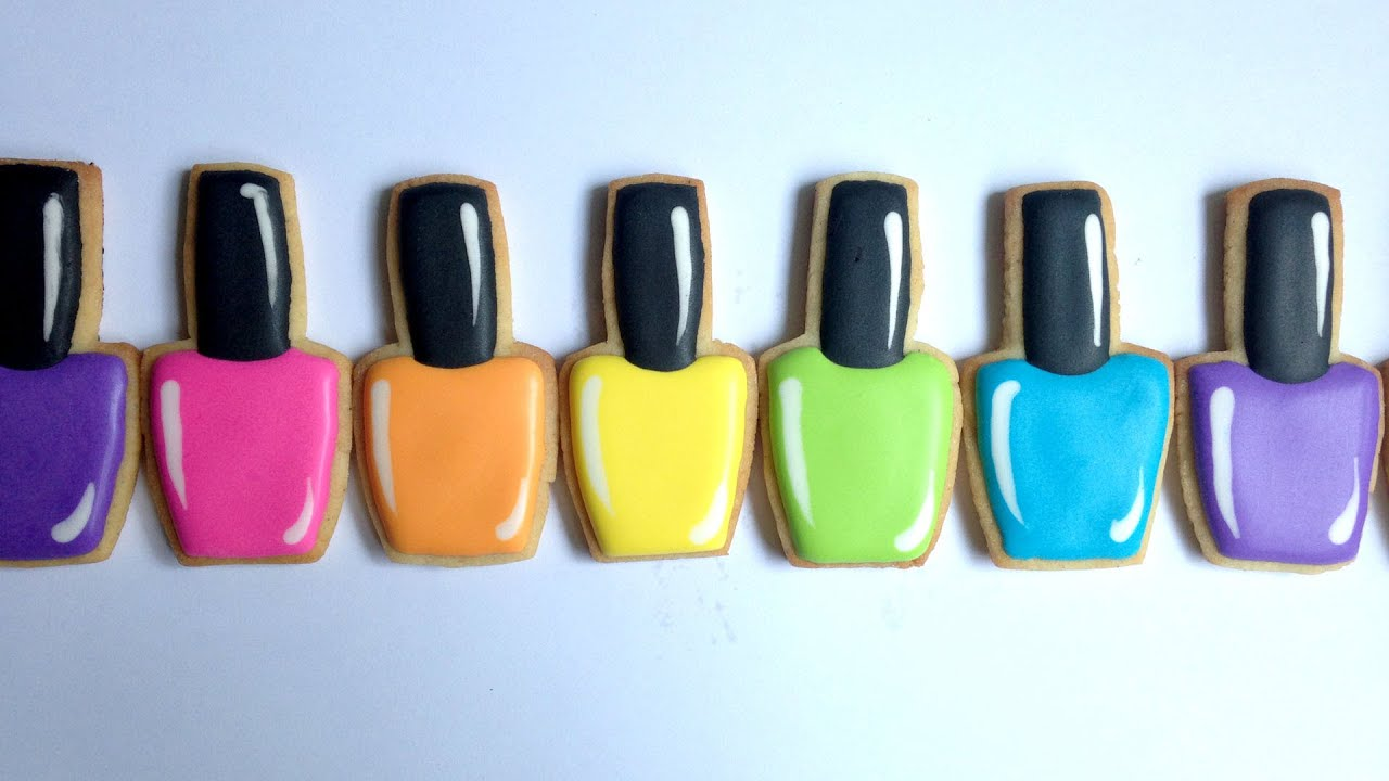 How To Decorate Nail Polish Cookies Youtube