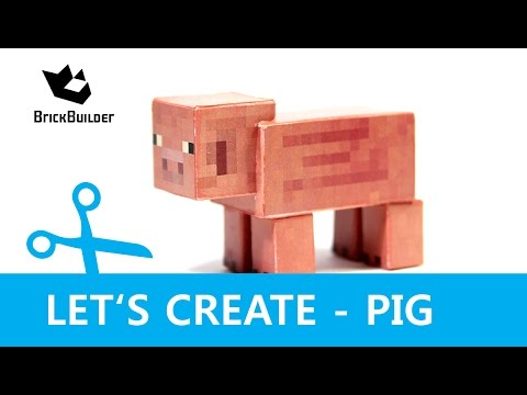 Papercraft Let's Create - Pig - Minecraft Paper Model with DOWNLOAD LINK