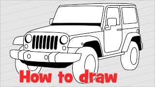 How to draw a car Jeep Wrangler Rubicon