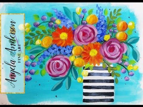 Impressionist Beginner Acrylic Painting Bohemian Flower