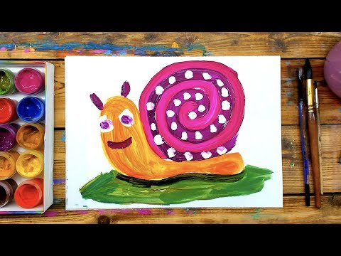 ГУАШЬ как рисовать красками УЛИТКУ с детьми