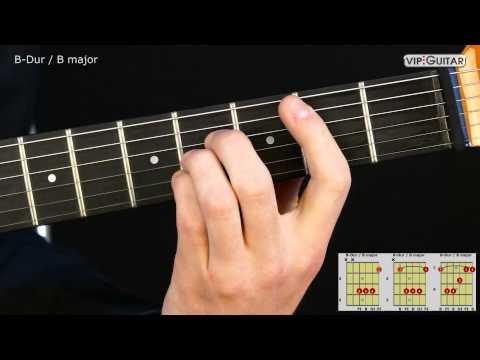 Gitarrenakkorde: B-Dur (H-Dur) Akkord / B major chord