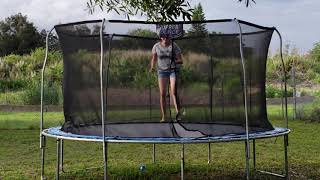 Chal Being Silly on Trampoline