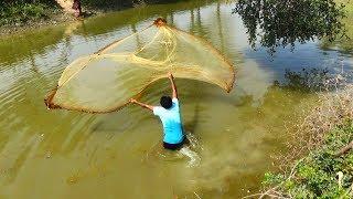 Throw net fishing | Catching Fish using Cast net | Net Fishing in the Village (Part-09)