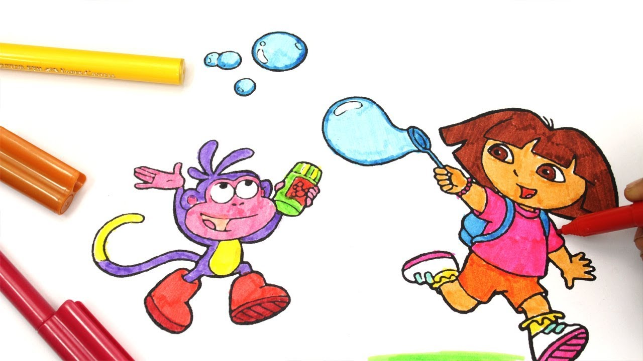 learn colors for kids and color dora the explorer coloring pages