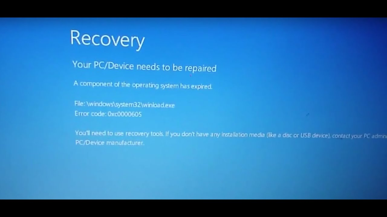 How to fix windows error 0xc0000605 recovery your pc for Window recovery