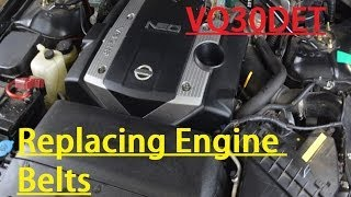 how to replace serpentine belts for nissan gloria cedric vq series