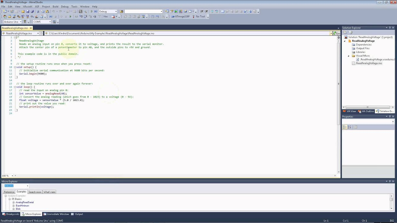 Arduino Programming with Visual Micro for Atmel Studio 6 1 - Part 2 -  Examples