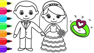 Little Bride and Groom Coloring Page | How to Draw Little Bride and Groom | Videos for Kids