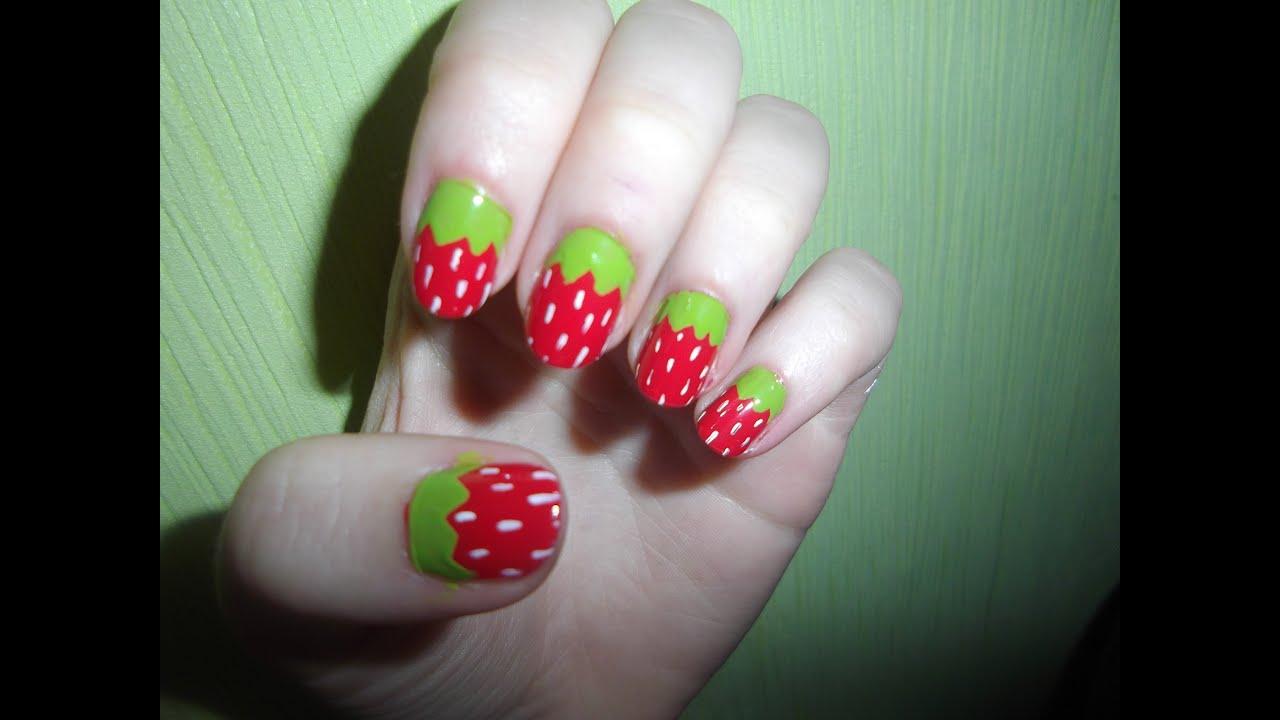 Erdbeeren Nageldesign | Früchtchenreihe - YouTube