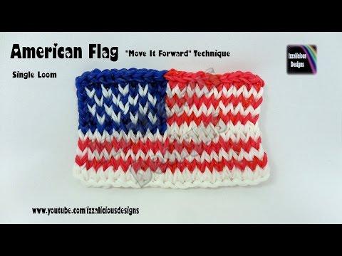 "Rainbow Loom American Flag ""Move It Forward"" Technique - single loom"
