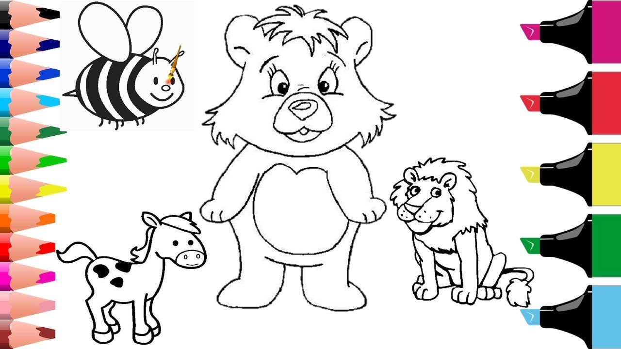 Colouring Animals For Kids Colouring Bear Coloring Bee