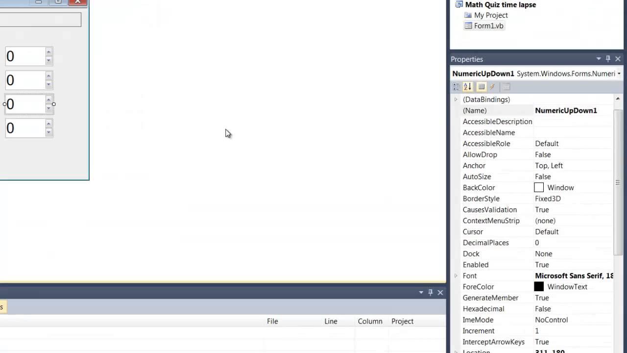 Visual Basic 2010: Time Lapse of Math quiz - YouTube