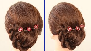 Unique New bun hairstyle for wedding and party | trending hairstyle | party hairstyle-updo hairstyle