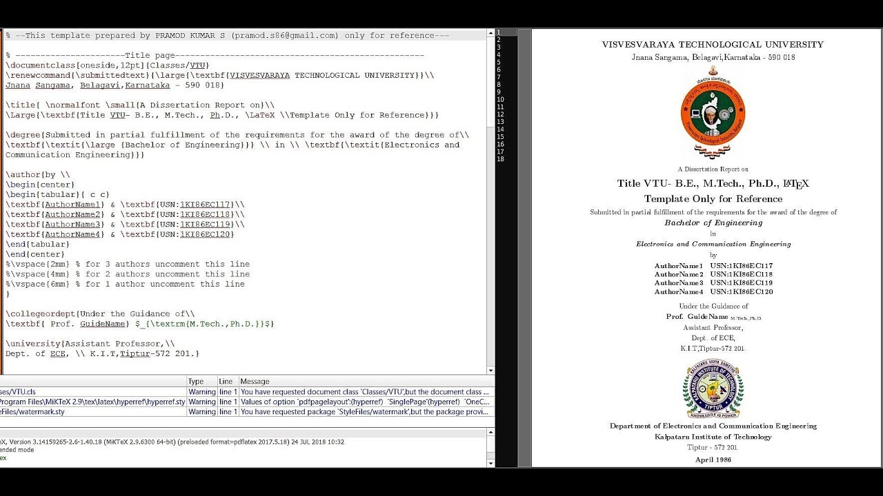 VTU Thesis Template in LaTeX for B.E., M.Tech., Ph.D