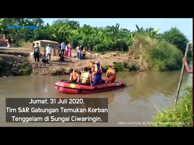 Video Detik-Detik Tim SAR Gabungan Temukan Korban Tenggelam di Sungai Ciwaringin Cirebon