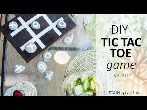 Backyard Patio Ideas // DIY Tic Tac Toe game with Stones and Reclaimed Wood Board