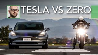 Tesla Model 3 Performance vs Zero SR/F | DRAG RACE a 6 ruote e 0 emissioni [ENG SUBS]