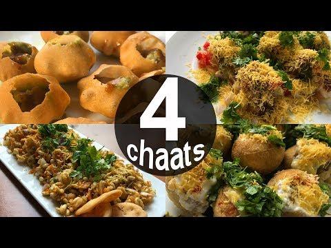4 Popular Mumbai Chaat Recipes | Pani Puri - Dahi Puri - Sev Puri - Bhel Puri| Mumbai Street Food