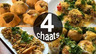 4 Popular Mumbai Chaat Recipes | Pani Puri - Dahi Puri - Sev Puri - Bhel Puri| Mumbai Street Food