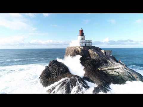 The Surf of Tillamook Rock Lighthouse in 4K