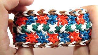 Как сделать из резинок широкий браслет | How to make wide Rainbow Loom bracelet rubber band bracelet