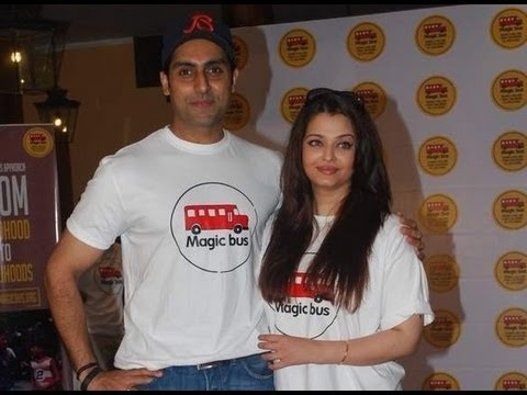 Aishwarya Rai Bachchan-Abhishek Bachchan ride the Magic Bus on Children's Day!