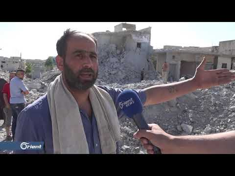 ميليشيا أسد الطائفية تستهدف بلدة إحسم جنوب إدلب بالبراميل المتفجرة - سوريا