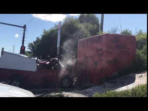 Man killed when truck crashes into Flint landmark