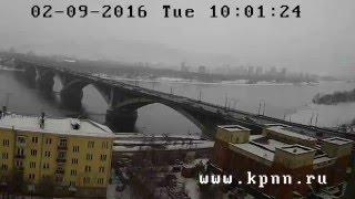 онлайн видеокамера на коммунальный мост через Енисей и краеведческий музей в Красноярске