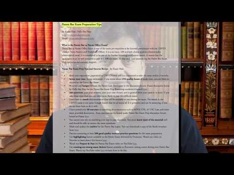 Patent Bar Exam Preparation and Exam Taking TIps - By Kasey Shah