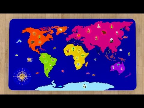 Cartoons for babies. Geography: World map for kids. Learn 6 continents in English.