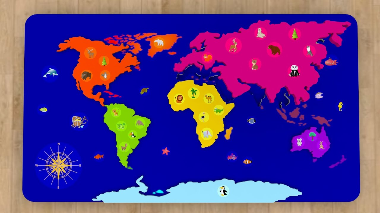 Geography World Map For Kids Learn 6 Continents In English