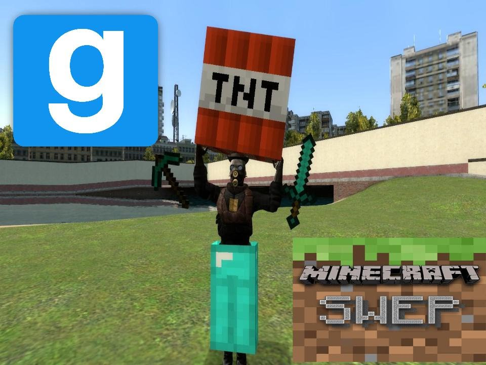 [Garry's Mod]Max傑的Mod介紹Minecraft SWEP,Minecraft Sword SWEP,Minecraft  Pickaxe SWEP!