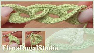 Вязание крючком. Нежный 3D шнур Урок 5