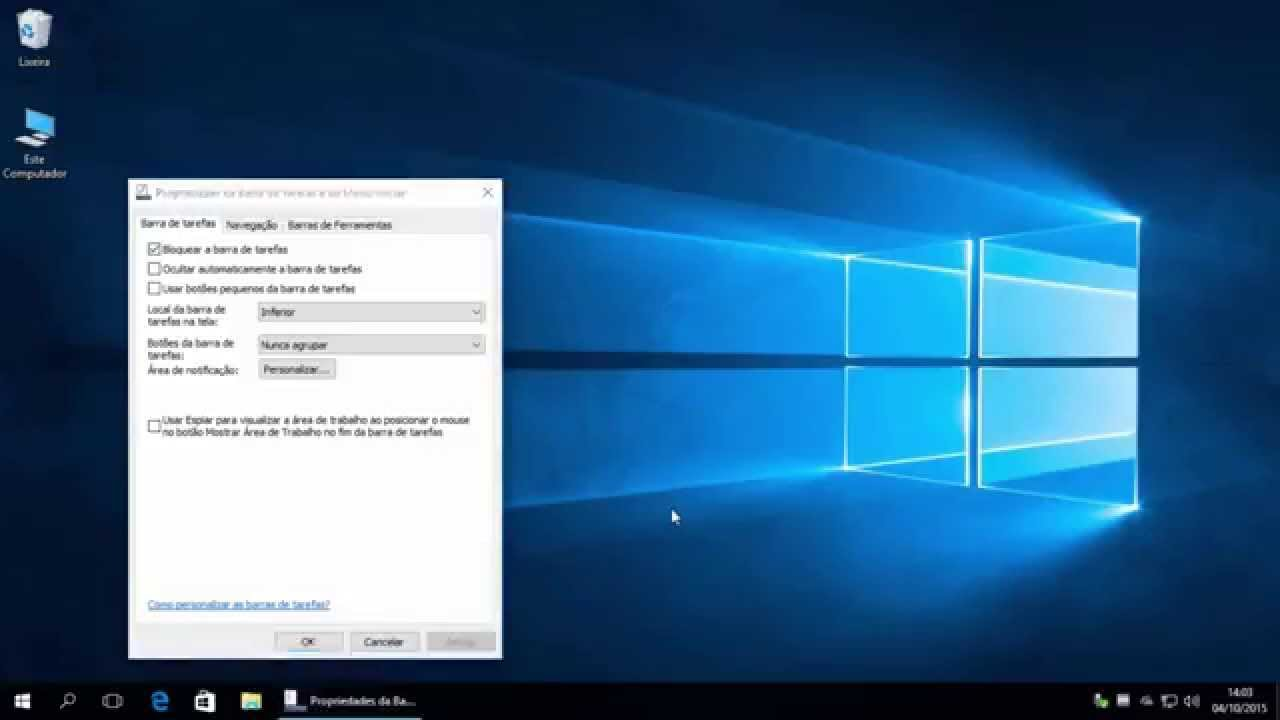 Esconder ícones do sistema (relógio, volume) no Windows 10 ...