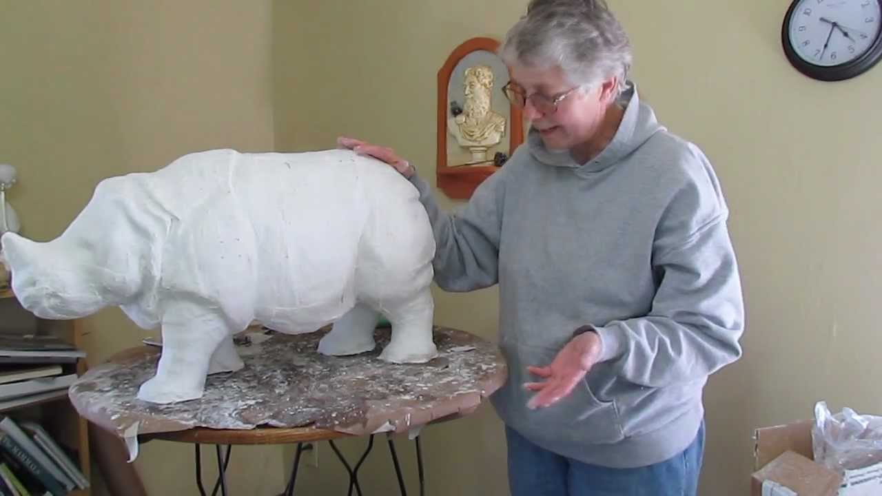 Indian Rhino With Plaster Cloth Over Clay Experiment Youtube