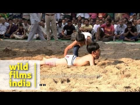 Young boys at wrestling competition in Himachal Pradesh