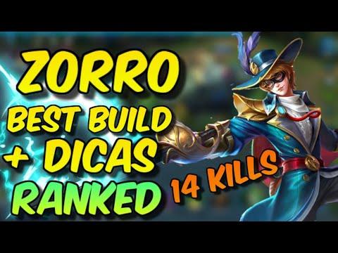 NOVO HERÓI  ZORRO - BEST BUILD + DICAS PARA CARREGAR (RANKED GAMEPLAY HEROES EVOLVED)