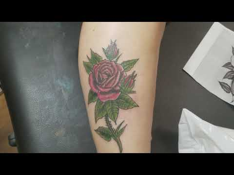 Rose Tattoo on Female Right Calf
