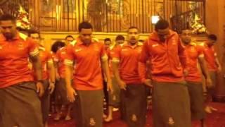 Tongan world rugby team do Haka at wigan's civic reception