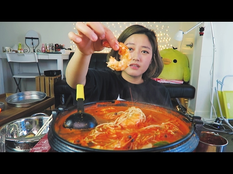 SHRIMP SHRIMP SHRIMP WEEK!! Spicy Shrimp Stew Cooking/Mukbang | Shrimp Edition 1/3